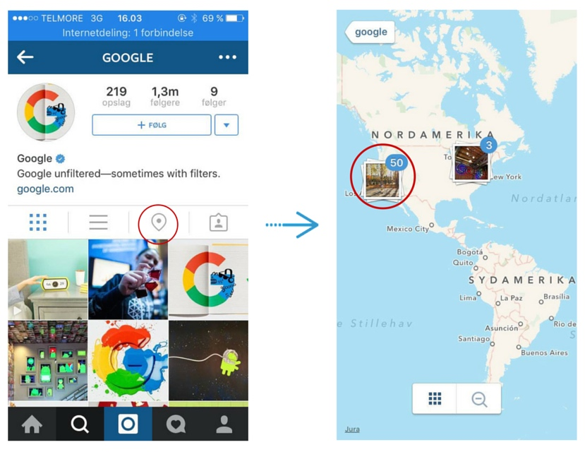 instagram guide placering google